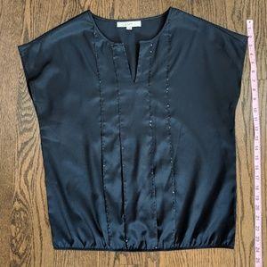 LOFT navy blouse, M, sequins design
